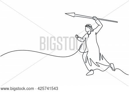 Single One Line Drawing Of Young Attractive Arab Male Entrepreneur Hit The Business Target Using Spe