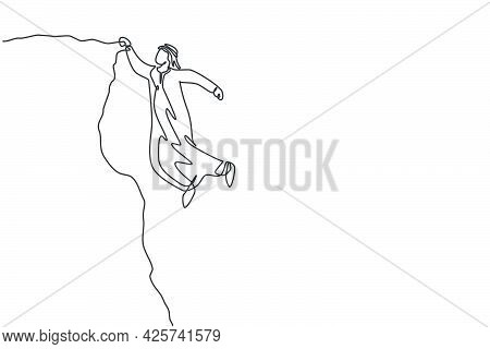 Continuous One Line Drawing Of Young Handsome Arab Male Worker Hanging Tight On Cliff Edge. Success