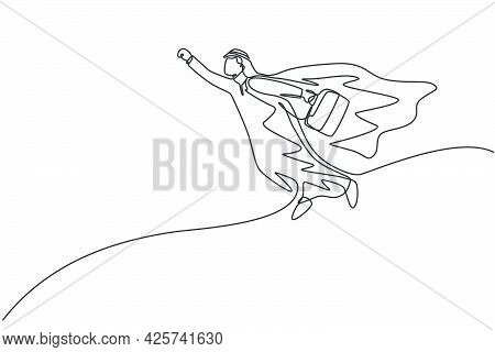 Continuous One Line Drawing Young Arabian Male Worker Superhero Flying While Holding Briefcase. Succ