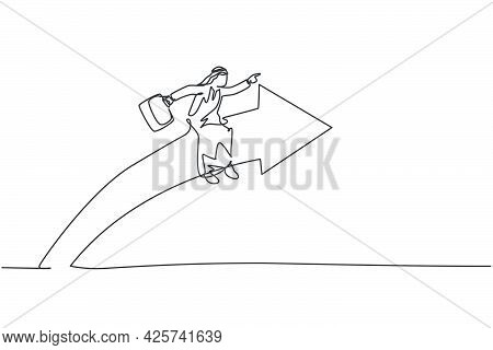 Single One Line Drawing Of Young Arabic Male Entrepreneur Riding Arrow Symbol And Flying To The Sky.