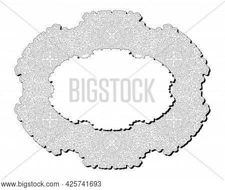 Beautiful Monochrome Vector Illustration For Adult Coloring Book Page With Abstract Ellipse Detailed