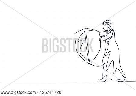 Single One Line Drawing Of Young Arabian Male Entrepreneur Holding Metal Shield To Protect From Thre