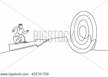 Single Continuous Line Drawing Of Young Arabian Businessman Ride Arrow Symbol And Flying To Hit Targ