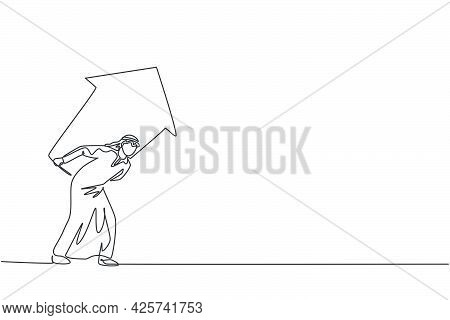 Continuous One Line Drawing Of Young Arabic Handsome Male Worker Shouldered Up Arrow Symbol. Busines