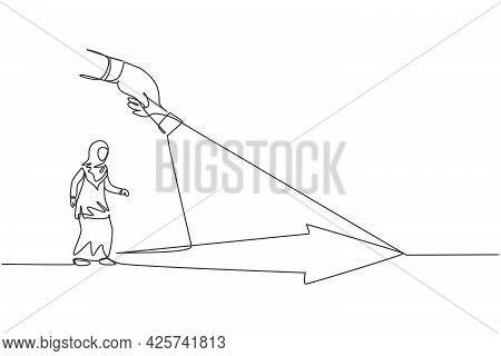Single Continuous Line Drawing Young Professional Female Arab Entrepreneur Focus Walking Follow Guid