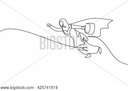 Single One Line Drawing Young Arabian Businesswoman Flying On The Sky While Holding Briefcase. Busin