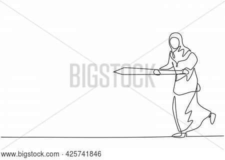 Continuous One Line Drawing Young Arabic Female Worker Running While Holding Sword To Hit Goal Targe