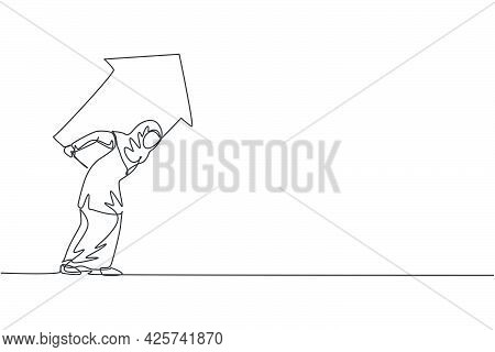 Single One Line Drawing Of Young Arabian Businesswoman Holding Up Arrow Symbol On Her Back. Business