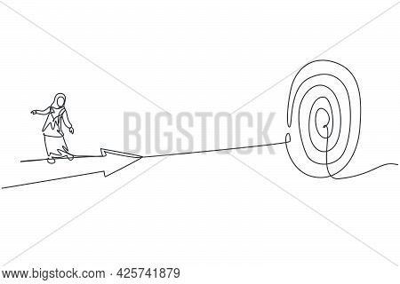 Single One Line Drawing Young Arabian Businesswoman Riding Forward Arrow To Hit Goal Target. Busines