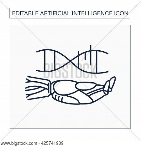 Ai In Genetic Line Icon. Genetic Engineering. Genes Data Analysis Software. Ai Diagnostic Concept. I