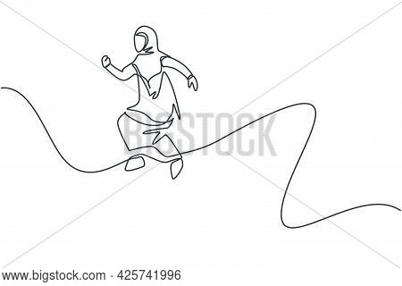 Single One Line Drawing Of Young Arabian Businesswoman Actively Jumping High To The Sky. Business Fi