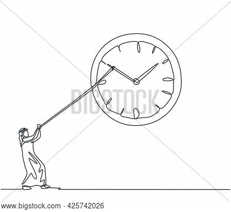 Continuous One Line Drawing Young Arab Male Worker Pulling Clockwise Big Analog Wall Clock With Rope
