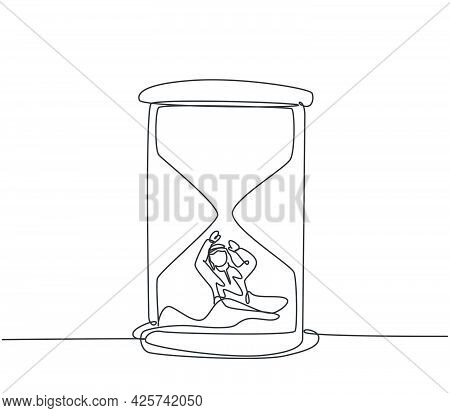 Single One Line Drawing Of Young Arabian Business Man Buried Inside Sandglass Asking For Help. Minim
