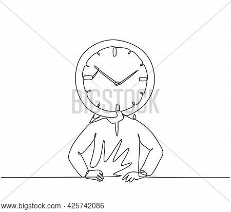 Single One Line Drawing Of Young Arabian Business Man With Analog Clock Head At The Office. Business