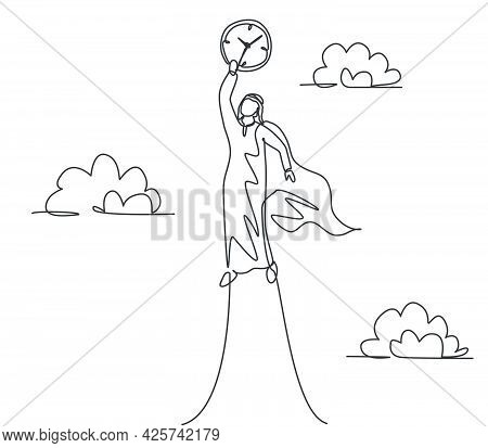 Single One Line Drawing Of Young Arabian Business Man Flying To The Sky To Reach Analog Clock. Busin