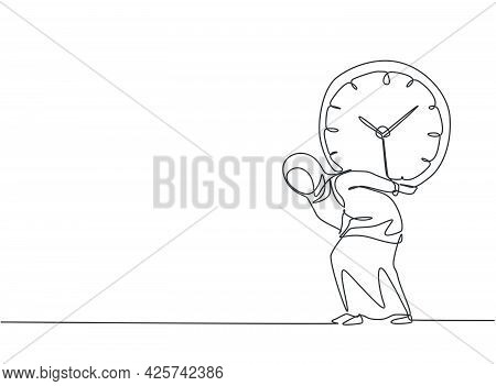 Single One Line Drawing Of Young Arabian Business Woman Shouldered Heavy Big Analog Clock With Her B