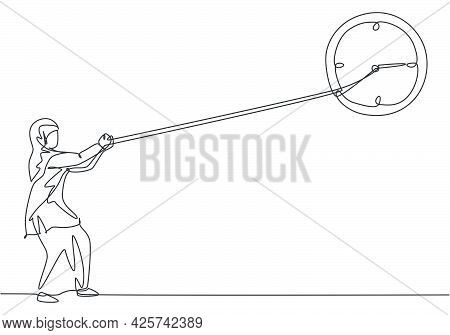 Continuous One Line Drawing Young Arab Female Worker Pulling Clockwise Of Big Analog Wall Clock With