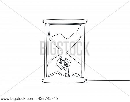 Single Continuous Line Drawing Young Arab Business Woman Buried Inside Sandglass And Asking For Help