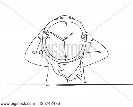 Single One Line Drawing Of Young Arabian Business Woman Holding Giant Analog Clock In Front Her Head