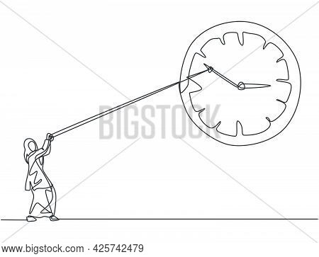Single Continuous Line Drawing Young Arab Business Woman Pulling Clockwise Of Big Analog Wall Clock