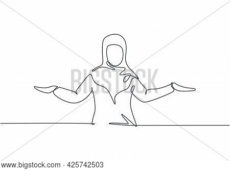 Single One Line Drawing Of Young Arabian Business Woman Stretched Out Her Arms. Business Presentatio
