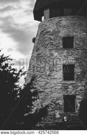 Old White Stone Mill In Hiiumaa, Estonia