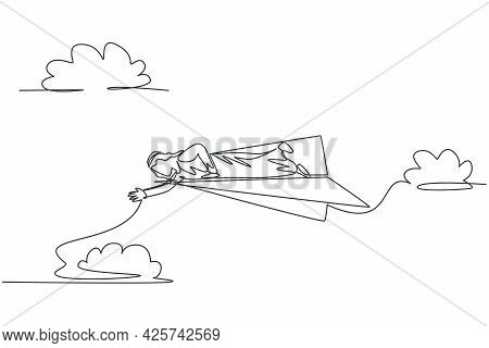 Single Continuous Line Drawing Of Young Arabian Business Man Lay Down On Flying Paper Plane To Reach