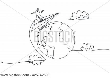 Single One Line Drawing Of Young Arabian Business Man Around The World With Flying Paper Plane. Glob