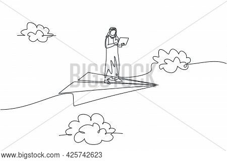 Continuous One Line Drawing Young Arab Male Worker Standing And Holding Laptop On Flying Paper Plane