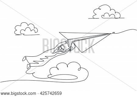 Single One Line Drawing Of Young Arabian Business Man Hanging Tight On Paper Airplane. Business Chal