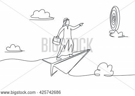 Continuous One Line Drawing Young Arab Male Worker Flying With Paper Plane To Hit Target On Dartboar