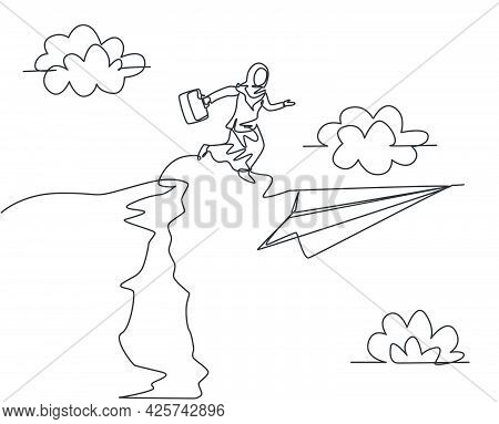 Single Continuous Line Drawing Young Arab Business Woman Jumping To Flying Paper Plane From Top Of T