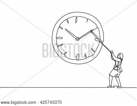 Single One Line Drawing Of Young Business Woman Pulling Clockwise Of Big Analog Wall Clock With Rope
