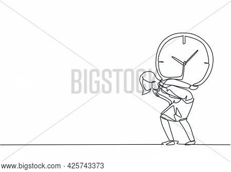 Single One Line Drawing Of Young Business Woman Shouldered Heavy Big Analog Clock With Her Back. Bus