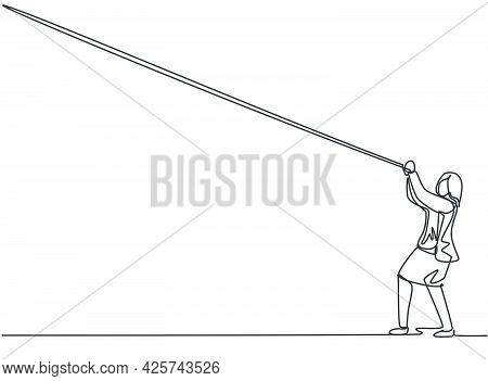 Single One Line Drawing Of Young Business Woman Hanging On The Rope To Reach Up His Goals. Business
