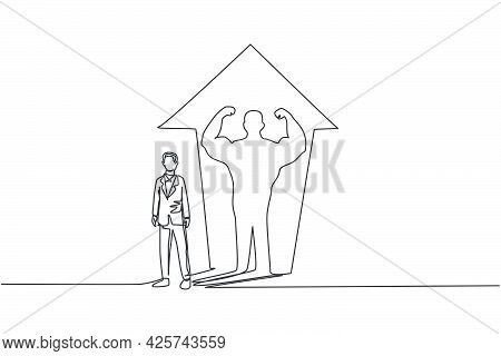 Continuous One Line Drawing Young Male Worker With Muscular Body Shadow Behind Him. Strong And Succe