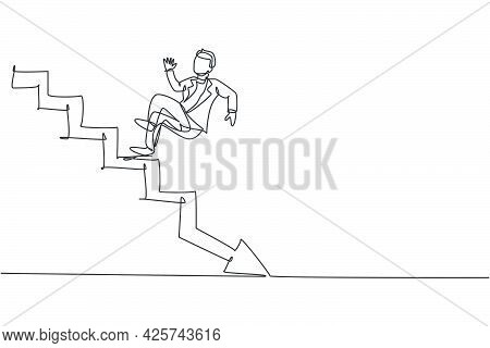 Single Continuous Line Drawing Of Young Business Man Slip Down From Up Stairs To Down Floor. Broke P
