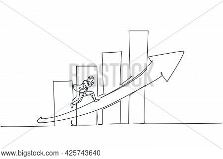 Single Continuous Line Drawing Of Young Worker Running Fast On Increasing Arrow Sign. Professional B