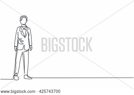 Continuous One Line Drawing Of Young Smart Businessman Standing On Office Suit. Success Business Man