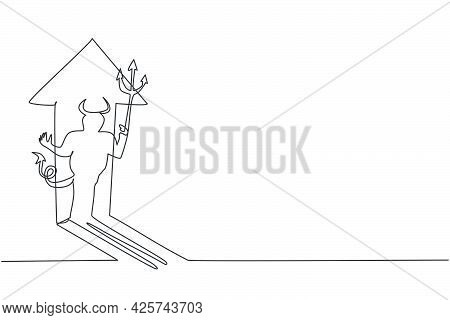 Continuous One Line Drawing Of Dangerous Demon Character Shadow Reflect On The Rising Up Arrow Sign