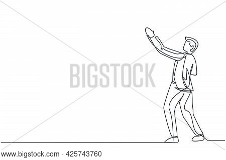 Continuous One Line Drawing Of Young Businessman Standing And Lifting Hand Gesture. Handsome Success