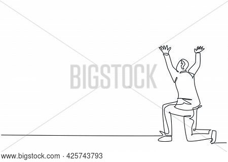 Single Continuous Line Drawing Of Young Business Man Gesturing Kneel Holding Something. Business Pro
