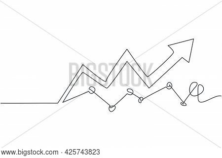 Single One Line Drawing Of Increasing Profit Business Graph Data. Business Financial Market Growth M