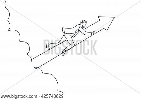 Single Continuous Line Drawing Young Worker Holding Arrow Sign Tightly While Flying Through Sky. Pro