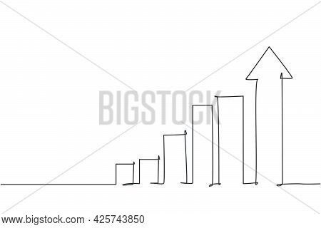 Single One Line Drawing Of Increasing Up Arrows Bar Graph Sign. Business Financial Sales Market Grow