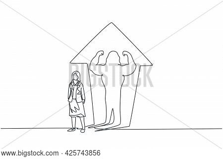 Continuous One Line Drawing Of Young Female Entrepreneur With Muscular Shadow Reflected On Wall. Suc