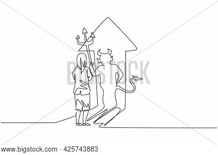 Continuous One Line Drawing Of Young Female Entrepreneur Facing Her Devil Shadow On The Wall. Bad Ev