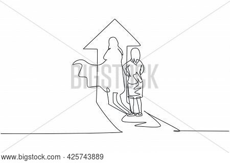 Continuous One Line Drawing Young Female Entrepreneur Facing Super Hero Shadow On Arrow Up Symbol Wa
