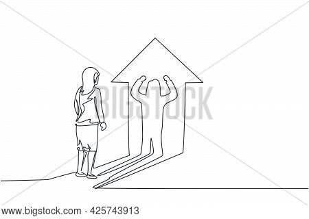 Single Continuous Line Drawing Of Young Beauty Businesswoman Facing Her Muscular Shadow On Arrow Lig