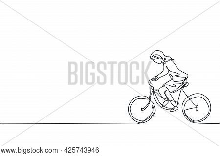 Continuous One Line Drawing Of Young Female Entrepreneur Riding Bicycle Go To The Office. Success Bu